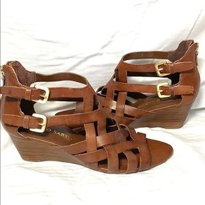 Franco Sarto wedge sandal brown leather